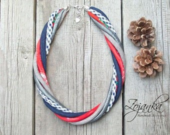 FABRIC necklace, statement necklace  textile jewelry, fashion gift ideas, textile necklace, colorful jewelry, Necklace, statement, bib