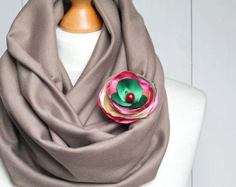 TAUPE Infinity Circle Scarf Loop with matching flower brooch pin, infinity scarf