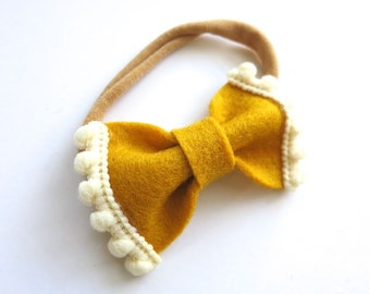 Felt Bow Headband - Pom Pom Trim Mini Bow - Baby Headband - Mustard Yellow and Ivory Cream - Headband or Hai Clip -Fall Fashion Kid Style