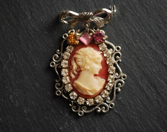 VIntage cameo boho chic silver pendant brooch pin rhinestones assemblage