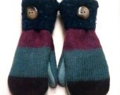 Sale Cool Colors Mittens made from recycled sweaters and lined with soft fleece. Ladies Medium.