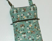 Vintage Aqua and Brown Japanese Linen Small Floral iPhone 4 5 6 Phone Case Shoulder Strap  iPhone 6 Plus Note Pink Beige