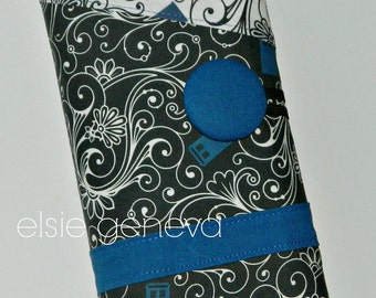 Tardis or Sherlock  Knitting Case Roll Needle Tunisian Organizer Spill Proof Interchangeable Cirucular DPN  Black White & Blue