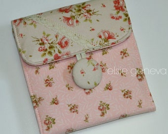 Vintage Pink Roses & Lace SD Memory Card Holder Case or Choose Any Fabric in My Shop