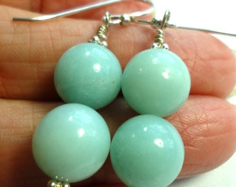 Amazonite Earrings with Sterling Amazonite Double Bead Earrings with Sterling Earrings
