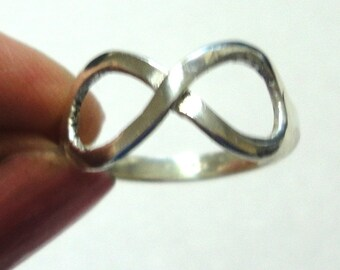 Sterling Infinity Ring Infinity Symbol Ring Solid Sterling Silver Ring Size 8