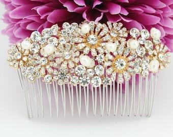 Bridal hair comb Gold Wedding hair comb Wedding hair accessory Bridal hair piece Wedding headpiece Bridal comb Wedding decorative comb gold