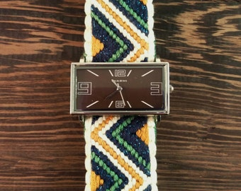 Large Rectangular Watch - Sage Watch with Large Face with Silk and Cotton Embroidered Band