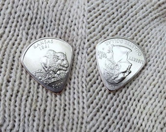 Mini Coin Guitar Pick - Premium Quality - Jazz Stubby - Handmade with a High grade 2005 Kansas State Quarter - Artisan Guitar Pick