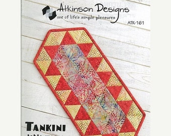 ON SALE TANKINI Table Runner Pattern - Atkinson Designs Atk-161 - Quilted Table Topper Runner Pattern - Triangle Quilt - Fat Quarter Friendl