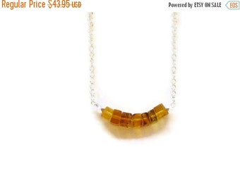 ON SALE Larimar Jewelry Dominican Amber Golden necklace Minimalist style Geometry Summer fashion jewelry