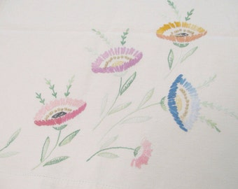 """Vintage Flower Hand Embroidery on Cotton Table Runner or Dresser Scarf  - 36"""" by 16"""" -"""