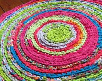 "rag rug, ""braided"" rug, crochet rug, Lilly Pulitzer bedding, rag rugs, kumari garden, shabby chic, rainbow rug, nursery rug #49"