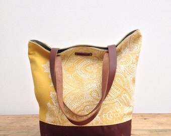 Large tote block print linen and waxed canvas day bag with leather handles
