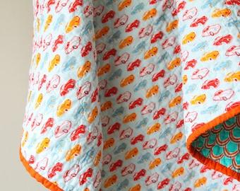 Modern Baby Quilt, Nursery Bedding, Cars, Reversible Quilt, Baby Boy Quilt, Aqua and Orange, Vintage Cars, Handmade Quilt