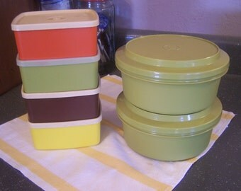 Assorted Vintage Tupperware Pieces, 1970s, Square Rounds, Seal N Serve Bowls, Orange, Brown, Green, Yellow,Storage Containers