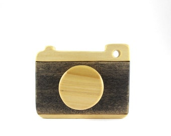 wooden camera toy, wooden waldorf toy, pretend camera, toddler toys, wood camera