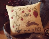 Sweet Strawberry, Primitive Cross Stitched pillow tuck, finished