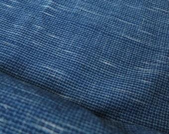 SPRING SALE - IDHF10: Medium Tone Indigo Fabric - Rattan Pattern 1 + Ikat Pattern (Random tie dye)