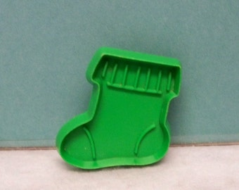 """Miniature Christmas Stocking Cookie Cutter ~ Red Or Green Hallmark Cookie Mold - Detailed Hard Plastic 2 """" Cut Out - Mint - Cookie Recipe"""