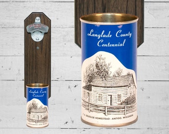 Point Special Wall Mounted Bottle Opener with Vintage Langlade County Beer Can Cap Catcher