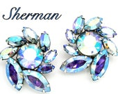 Vintage Sherman Earrings Blue Aurora Borealis Stones Pinwheel Design
