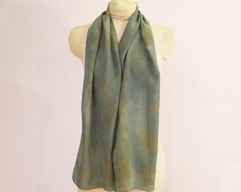 "Silk Scarf - Eco Fashion - Natural Dye - Indigo - Blue-Green Brown - Plant-Dyed - CDC111520 - approx. 11""x56"" (28 x 142cm)"
