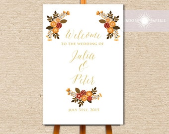 Fall Wedding Welcome Sign, Fall Wedding Decor, Fall Wedding, Printable Welcome Sign, Autumn, Orange, Brown, Floral Welcome, jadorepaperie