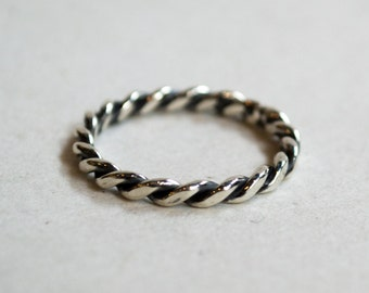 Twisted silver band, skinny ring, rustic ring, wedding band, oxidised silver ring, stacking ring, thin Silver ring - Unforgettable R2204-1