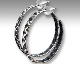 Hoop Earrings, rustic hoops, large hoop earrings, sterling silver hoops, boho earrings, hippie earrings, gypsy hoops - You and I - E8014