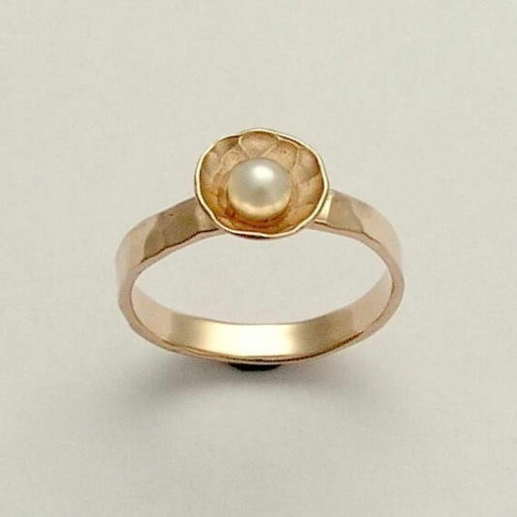 Solid Rose gold ring simple engagement ring pearl ring
