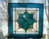 Stained Glass Victorian Panel Window Hanging Sun Catcher Teal Blue