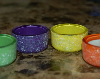 Hand Painted Set of 4 Marbled Glass Votive Candle Holder Orange, Yellow, Green, Purple