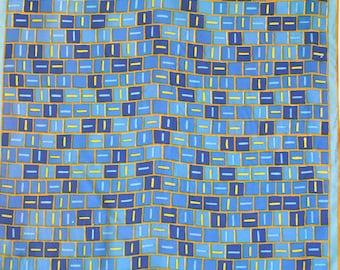 Geometric Vera ladybug scarf. Mod Vera scarf, color block, squares, blue scarf, yellow, caramel.