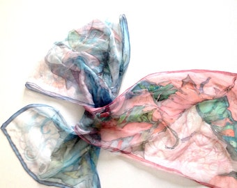 Hand painted silk scarf with leaf motives-dusty pink and grey blue colours-tangled lines in the background-luxurious silk scarf