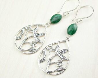 Chrome Diopside Earrings, Sterling Silver Earrings, Flower Leaf Earrings, Emerald Green Earrings Woodland Jewelry Statement Earrings Dangle