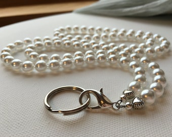 White Pearl ID Badge Lanyard with detachable keyring