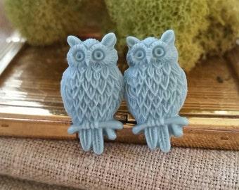 Owl Plugs, Wedding Gauges, Slate Blue, Gray