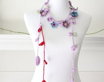 Crochet Light Purple, Teal, Plum, Green Lariat, Scarf, Necklace, Scarflette