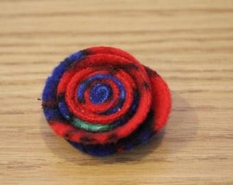 Red Fleeced Lapel Pin