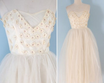 1950s pearl blossom party dress / 50s tulle and  daisy prom formal dress