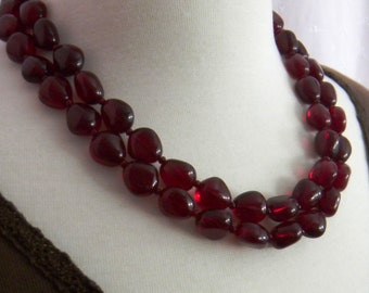 Garnet Red Beaded Necklace, Crimson, Dark Red Layered Necklace, January Birthstone, Teardrop two strand necklace