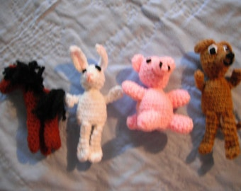 crochet Farm finger puppets