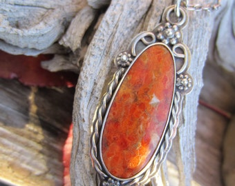 Orange Fossilized Apple Coral and Silver Handmade Necklace