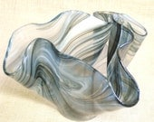 Vase , Glass Vase , Free Form , Art Glass , Hand Blown , Handmade , Handkerchief Vase , Fluid , Gray , Mouth Blown Vase , Signed , Glass
