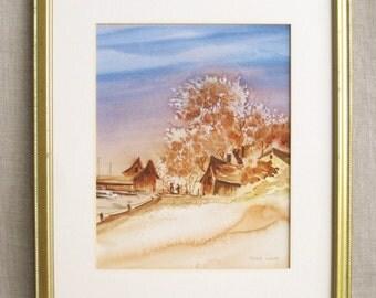 Vintage Landscape, Watercolor Painting, Landscape Painting, Lakeside, Shoreline, Water, Vintage Painting, Fine Art, Art, Original Art,Framed