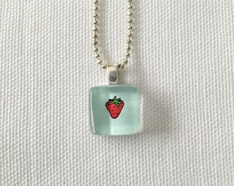 Child's Small Strawberry Charm Necklace SALE