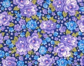 Purple, Blue, White and Green Floral 100% Cotton Quilt Fabric from Fabric Traditions, FAT12894-N, Fat Quarter, Yardage, Made in America