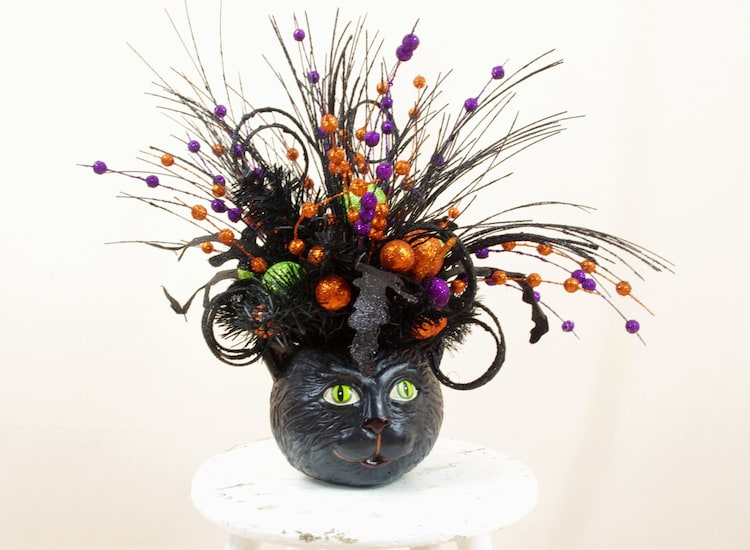 Halloween Decor Vintage Inspired Black Cat By Seasonalaccent