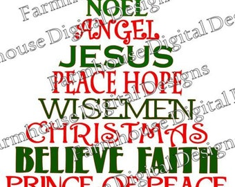 Savior Christmas Tree .SVG/.DXF/.PNG for use w/ Silhouette Studio and other Cutters -- Instant Download